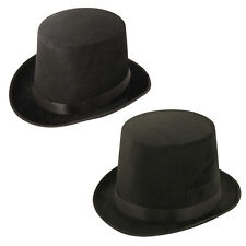 ADULT VELOUR TOP HAT VICTORIAN RINGMASTER FANCY DRESS SHORT TALL CHOOSE SIZE