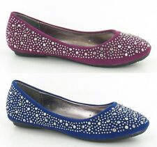 Girls Cutie Qt Faux Suede Slip On Ballerina Shoes with Studded Detail H2250