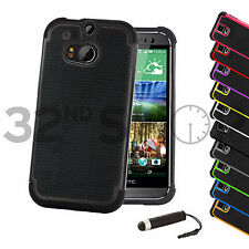 SHOCK PROOF SKIN CASE COVER FOR HTC ONE M7 / M8 /Max  +SCREEN PROTECTOR STYLUS