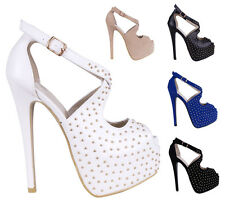 Women's High Heel Studded Peep Toe Strappy Sandal Platform Party Shoes