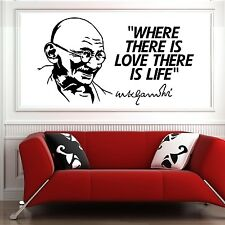 MAHATMA GANDHI Where there is love there is life VINYL WALL ART QUOTE STICKER