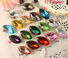 12 Rhinestone 32x17mm Navette Crystal Fancy pointback Foiled Element chose color