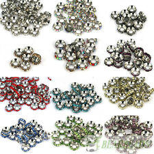 Big Hole Crystal Rhinestone Nickel Rondelle Spacer Beads 10mm Fit European Charm