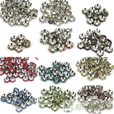 Big Hole Crystal Rhinestone Pewter Rondelle Spacer Beads 10mm Fit European Charm