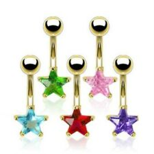 GOLD PLATED COLORED CZ GEM STAR BELLY NAVEL RING BUTTON PIERCING JEWELRY B683