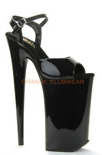 "PLEASER BEYOND Extreme Platform Black 10"" High Heels Crazy Huge Fetish Stilettos"