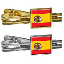 Spain Spanish Flag Square Tie Bar Clip Clasp Tack
