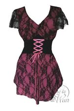 Plus Size Gothic Pink and Black Lace Sweetheart Corset Top 1X 2X 3X 4X 5X
