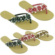 New Womens Summer Fashion Flip Flops Sandals Cute Flower Style Thongs Flats
