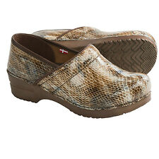 Women's Sanita Professional  Sonora Closed  Back Clogs Brown Snake