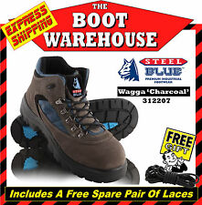 Steel Blue 'Wagga' 312207 Hiking & Work Boots In Charcoal. Steel Toe Cap Safety.