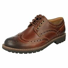 MENS CLARKS FORMAL BROGUE DARK TAN LEATHER SMART LACE UP SHOES MONTACUTE WING