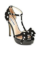 Womens Steve Madden HOLLY T-Strap Platform Sandals Heels Satin Black White Dots