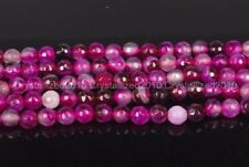 Natural Pink Agate Stripe Gemstone Faceted Round Beads 6mm 8mm 10mm 15.5'' Pick