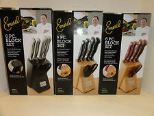 Emeril 6Pc. Block Set Knives Colors Available (Black, Stainless Steel, Red)
