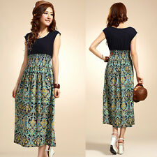 SALE FOR Women Lady Summer Gypsy Boho Floral Pattern Sleeveless Sundress Dress