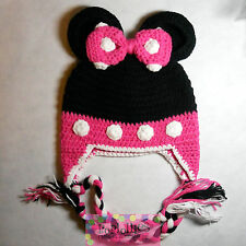 NWT CUTE MOUSE Minnie CROCHET ANIMAL HAT..Photo prop, winter wear