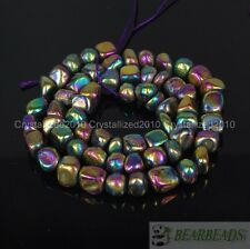 Colored Natural Iron Pyrite Gemstone Freeformed 6-10mm Nugget Loose Beads 16''
