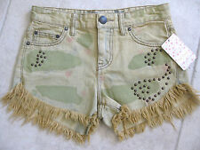 FREE PEOPLE RUGGED RIPPED DOLPHIN CUT OFF STUDDED CAMO SHORT CASTRO WASH NWT