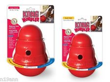 GENUINE KONG WOBBLER FOOD DISPENSER SMALL OR LARGE WOBBLES SPINS ROLLS DOG TOY