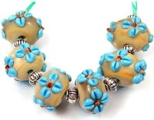 Lampwork Handmade Turquoise Blue Flower Spacer Rondelle Beads Choose Quantity