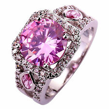 Mens Women's Wedding Pink & White Topaz Gems Silver Fashion Ring Size 7 8 9 10