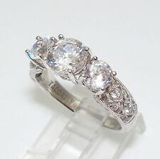 Tacori IV Epiphany 2.50ct 3 CZ Sterling Silver Crescent Lace Bloom Cut Ring