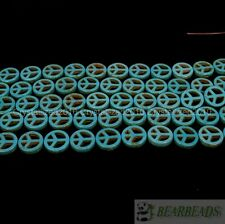 Blue Howlite Turquoise Carved 15mm Peace Sign Spacer Beads 16 Inches Strand
