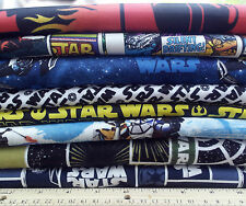 STAR WARS : choose from assorted cotton & flannel fabric prints & panels