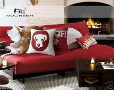 Red Ikea cute embroidery puppy woof cotton&Linen Sofa cushion case/pillow cover