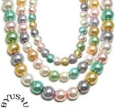ROUND GLASS PEARL BEAD PASTEL MIX choose size 36 inch strand SPECIAL