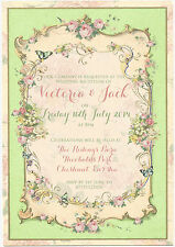 PERSONALISED VINTAGE SUMMER TEA PARTY SHABBY CHIC WEDDING RECEPTION INVITATIONS