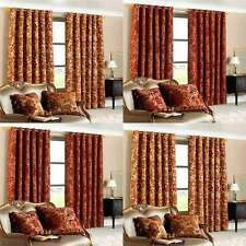 Paoletti Belgravia Chenille Jacquard Lined Eyelet Curtains, 90 x 90 Inch