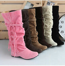 Ladies Sweet Candy Faux Suede Tassels Pleated Mid Heel Knee High Boots Plus Size