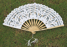 Hotsale Lady's Handmade White Lace Parasol Hand Fan For Wedding Party Xmas Favor