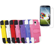 Color Hybrid Hard/Soft Stand Case Cover for Samsung Galaxy S4 IV i9500 + Film