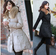 Womens Luxury Winter Real Badger Fur Hooded Down Jacket Coat Parka S M L XL