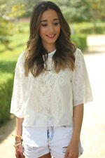 ZARA BNWT WHITE EMBROIDERED TOP BLOUSE ALL SIZES SPRING 2013 COLLECTION