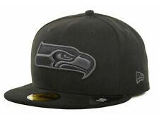 Official Seattle Seahawks New Era NFL Black Gray Basic 59FIFTY Fitted Hat