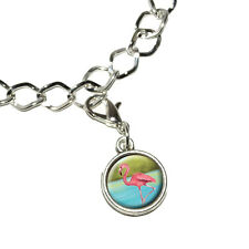 Flamingo - Antiqued Bracelet Pendant Zipper Pull Charm with Lobster Clasp