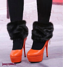 Fashion faux fur funky leg warmers boots cover club dance shoes cover black