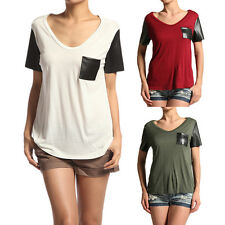 MOGAN Faux LEATHER SLEEVE TEE SHIRTS Girls Round Neck Pocket Loose Fit Knit Top