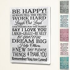 Be Happy - Wall Quote Sign Saying Box Canvas Fabric Print - 6 Colours