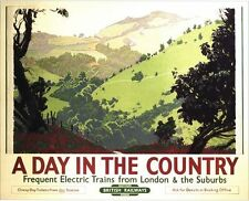 Vintage British Rail Day In The Southern Countryside Railway Poster A3/A2 Print