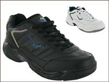 MENS LEATHER UPPER CASUAL LACE UP TRAINER SPORTS GYM RUNNING WALKING  SHOES SIZE