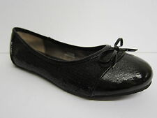 Girls Spot On Black Sequin Ballerina Shoes with Patent Toe Cap & Bow Trim H2086