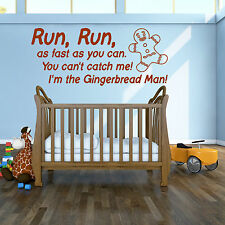Gingerbread Man Nursery Rhyme childrens room Vinyl Wall Art Sticker Decal quote