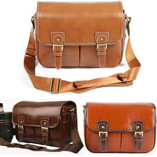 Waterproof Leather Camera Shoulder Bag Carry + Partition For Canon Nikon DSLR