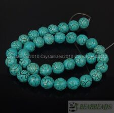 """Blue Howlite Turquoise Gemstone Carved Round Loose Spacer Beads 10mm 12mm 16"""""""