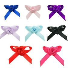 Satin Ribbon Bows With Rose Buds Embellishments For Craft Wedding 5-20pcs